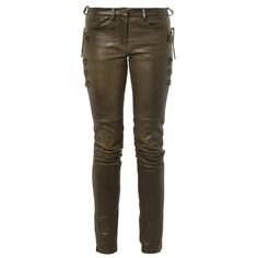 Isabel Marant Haper skinny-leg leather trousers ($1,292) ❤ liked on Polyvore featuring pants, bottoms, the maze runner, trousers, bronze, isabel marant pants, real leather pants, skinny pants, brown skinny pants and skinny trousers