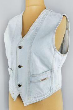 Vintage light wash blue denim vest by Magnet Jeans from the 80s. Beautiful light blue jean vintage vest. Will suit both men and women, but please check measurements below for proper fit! Light Blue Jeans, Blue Denim, Vintage Lighting, Beautiful Lights, Vintage Shops, Vests, Blazers, Fit, Check