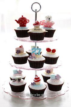 Tea party theme cupcakes by Bake-a-boo Cakes NZ, via Flickr