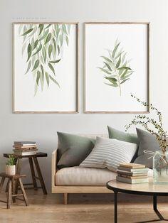 Stampa botanica set di 2 dipinti ad acquerello foglie di eucalipto stampe d'arte. Arte stampabile minimalista moderna, arte della parete del salone verde salvia