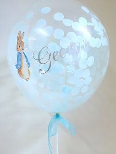 68ae35ea3 Rabbit Balloon, Confetti Balloon, Birthday Balloon, Christening Balloon,  Baby Shower Balloon, Personalised Balloon