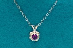 Rose Flower Amethyst Silver Necklace by janeysjewels on Etsy
