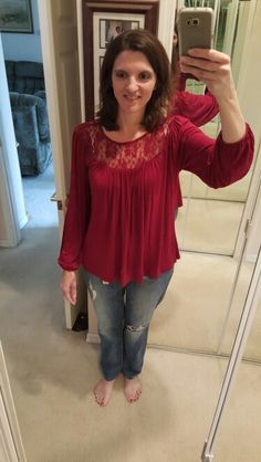 Like the color. It's on the edge of being too billowy for me though. I kept this one and like it better when I switched to skinny jeans instead of these boyfriend jeans.