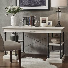 Darby Home Co Gail Executive Desk Finish: Desk With Keyboard Tray, Wood Writing Desk, Computer Desk With Hutch, Writing Desk With Drawers, Computer Desks, Home Office Desks, Office Furniture, Office Decor, Office Ideas