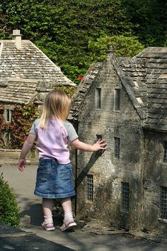 The Model Village, Bourton-on-the-Water. I've got black & white photo's of me here with my Gran, when I was about this little girls age. Bourton On The Water, Model Village, Image Model, England And Scotland, Miniature Houses, Fairy Houses, Small World, Little Houses, Countryside