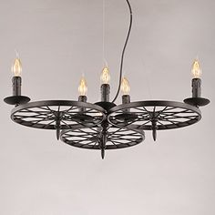 NATSEN Vintage Country Pendant Light black Chandelier Ceiling hanging lights 6lights E14 Bulbs Dining Room living room bedroom Wheel shape *** You can get more details by clicking on the image.