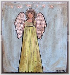 Angel with Hymn Wings Original Painting by SweetCarolineOrig, $75.00