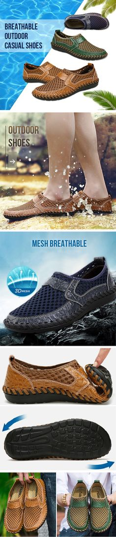 ca9668c0325c2d Men Stitching Honeycomb Mesh Soft Loafers Breathable Outdoor Casual Shoes