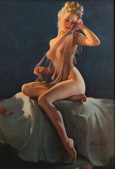 """Adoration"" by Gil Elvgren (B&B, 1940s/1950s)"