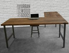 Reclaimed Wood Office Furniture, Modern Wood Desk-Custom L Shaped Desk with reclaimed wood top and square steel legs Home Office Furniture, Home Office Decor, Modern Furniture, Furniture Stores, Interior Office, Bedroom Office, Repurposed Furniture, Furniture Ideas, Desk Redo