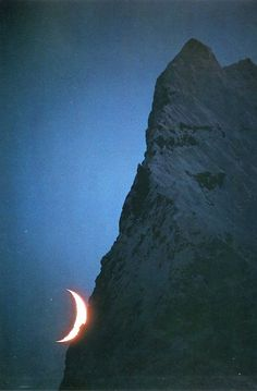Crescent moon and unnamed peak, Savoia Glacier, Karakoram (Pakistan, 1975) Galen & Barbara Rowell,  Mountain Light