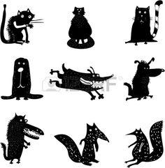 Set von lustigen Tieren Lizenzfreie Bilder - 21139247