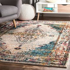 nuLOOM Vintage Medallion Veronica Distressed Area Rug, 5 3 x 7 7 , Blue Carpet Decor, Rugs On Carpet, Carpet Ideas, Stair Carpet, Sisal Carpet, Carpet Trends, Navy Rug, Aqua Rug, Cheap Carpet Runners
