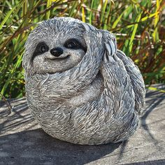 This Pudgy Pal Sloth is so cute would be a fun decoration for your garden. Roman Garden, Garden Statues, Sloth, Owl, Bird, Birthday Ideas, Cute, Animals, Decoration