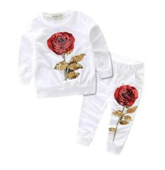 Girls Bailey Rose Sequence White Jumpsuit/Sweatpant Set - PRE ORDER