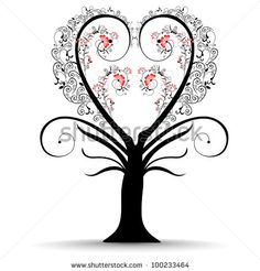 stock vector : Colorful love tree made by small heart shapes with floral design and copy space for your text, isolated on white background. can be use as greeting or gift card.