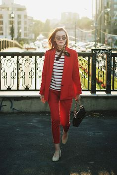 Get this look: http://lb.nu/look/8454171 More looks by Andreea Birsan: http://lb.nu/andreeabirsan Items in this look: Mirrored Sunglasses, French Knotted Scarf, Striped Top, Red Blazer, Red Trousers, Beige Suede Pumps, Quilted Crossbody Bag #casual #minimal #street #andreeabirsan #couturezilla #summer #summerlook #summeroutfit #summerootd