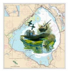 Steve Whitlock Nautical Chart Art - Lake Okeechobee