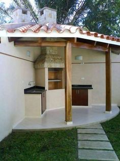 grillecke garten Wonderful BBQ Grill Design Ideas for Your Patio Outdoor Space, Patio Remodel, Outdoor Kitchen Design, House Exterior, Patio Design, Kitchen Design Diy, Exterior Design, Outdoor Kitchen, Grill Design