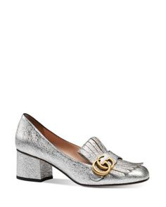 Gucci Marmont Metallic Mid Heel Loafers | Bloomingdale's