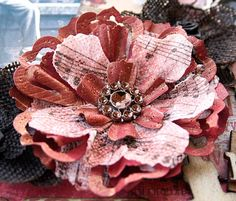 Scrap, Travel, and Bark!: Cardstock and woven paper flower tutorial.