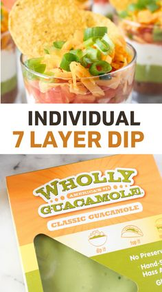 A better-for-you take on a traditional party dip, these Individual 7 Layer Dip Cups can be made in minutes thanks to some help from pre-made ingredients! Gluten Free, Grain Free, Dairy Free option, Nut Free, Egg Free, Soy Free Healthy Appetizers Dips, Appetizer Dips, Guacamole Dip, Layer Dip, 7 Layers, Party Dips, Dairy Free Options, Egg Free, Grain Free