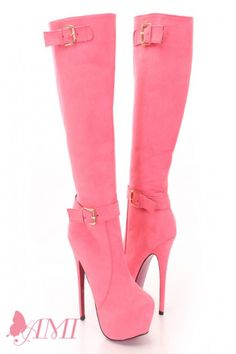 Coral Faux Suede Color Bottom Sole Knee High Boots