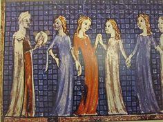 Miriam and her tambourine and Israelite women - from the Sarajevo Hagaddah, created in Barcelona around 1350.