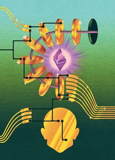 "remainsstreet: "" Illustration for The New Yorker ""The Prophets of Cryptocurrency Survey the Boom and Bust"" "" Kesha Rainbow, Aya Takano, Bitcoin Mining Hardware, Best Crypto, Bitcoin Business, Bitcoin Transaction, Cinema Posters, Graphic Design Posters, The New Yorker"