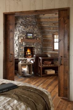 for small cabin. fireplace in seperate room sliding farm doors to close vents installed