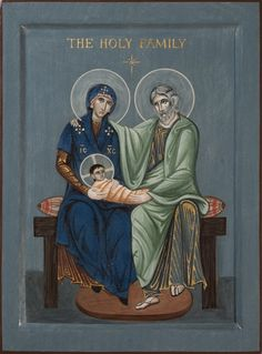 Commission Icon of the Holy Family on a gray-blue background. 2014