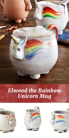 Handmade from stoneware clay-and fairy dust-Elwood is a fanciful companion to your coffee, tea, or to put in your stocking.
