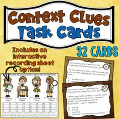 This set of 32 task cards are designed to provide students an opportunity to practice using context clues to identify the meaning of unknown words. Like most of my task card sets, I have included a bonus game-like answer sheet in addition to the more traditional recording sheet.