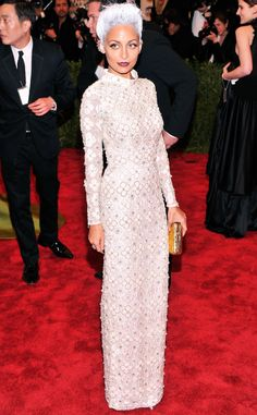 Nicole Richie debuts a short gray-blue hair with a white embellished Topshop dress.