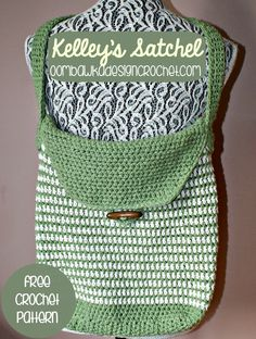 "Kelleys Satchel, free pattern from Rhondda of Oombawka Design. Large enough for 8.5"" x 11"" items. Reinforced double bottom & strap attachments (opt.), plus nice toggle button closure. Body worked in HDC in the round (seam on back), flap worked in rows. . . . . ღTrish W ~ http://www.pinterest.com/trishw/ . . . . #crochet #bag #tote"