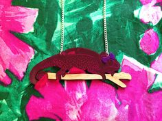 Georgette Chameleon Necklace, Laser Cut Acrylic Necklace, Chameleon Laser Cut Jewelry, hello DODO X Designosaur, George Chameleon Necklace