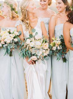 Gorgeous long baby blue bridesmaid dresses!