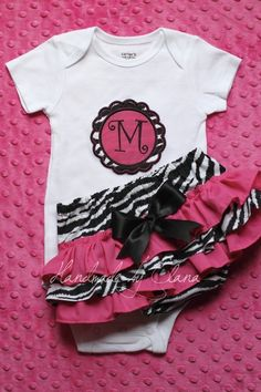 Zebra and Hot Rink Ruffle Bottom Bloomers with Matching Applique Initial Onesie short or long sleeve. $40.00, via Etsy.