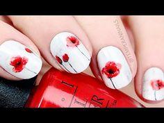 Poppy Flower Nail Art Tutorial - YouTube