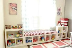 Toddlers bedroom | Less permanent Shelving, storage and seating area.
