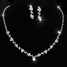 Silver Tone Crystal Tennis Choker Necklace Set Earrings Factory Price Wedding Bridal Bridesmaid African Jewelry Sets 14F3AF067(China (Mainland))