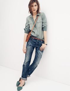 Madewell Tomboy workshirt, Rivet & Thread stretch selvedge slim boyjean and the D'Orsay flat.