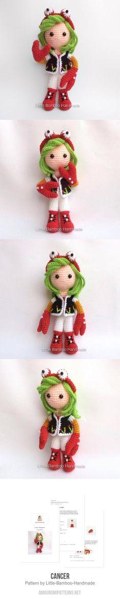 Cancer Amigurumi Pattern Kawaii Crochet, Cute Crochet, Crochet Crafts, Crochet Dolls, Crochet Yarn, Crochet Projects, Amigurumi Toys, Amigurumi Patterns, Crochet Patterns