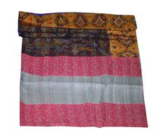 This piece of art can be used as a coverlet/ bed bpread/ bed cover/ bed sheet/ table cover/ table runner/ throw or wall hanging. This silk quilt is exquisite example of hand made/ hand stitched quilting work art. Kantha Quilt, Quilts, Handmade Bedding, Vintage Blanket, Bedspread, Bed Covers, Art Deco Fashion, Queen Size, Indian