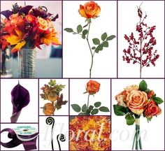 Really cool way to involve fall leaves (upper left photo) #afloral http://blog.afloral.com/daily-scoop/fall-wedding-flowers-brittanys-inspiration-board/#.UkQ6eIasiSo