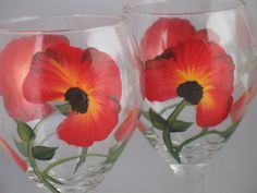 Hand Painted Wine Glasses with Poppies by CraftsNNat on Etsy, $24.00