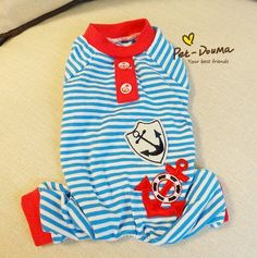 Kawaii Pet Shop Sailor Striped Dog Jumpsuits Rompers Pet Clothes Dog Pajamas Clothes for Dogs