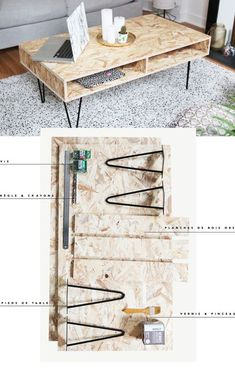 DIY decor: Create a design coffee table in OSB wood - Diy Möbel Diy Coffee Table, Decorating Coffee Tables, Coffee Table Design, Diy Table, Farmhouse Furniture, Diy Furniture, Furniture Removal, Modern Furniture, Furniture Buyers