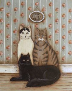 Folk Art Cats Portrat, Home Sweet Home, a cottage KITTY Family print by Donna Atkins