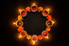 Happy Diwali - Clay Diya Lamps Lit Hindu Festival Of Lights Celebration. Rangoli Designs Simple Diwali, Rangoli Ideas, Diwali Photos, Happy Diwali Images, Hindu Festival Of Lights, Hindu Festivals, Diwali Diy, Diwali Gifts, Diwali Decorations At Home